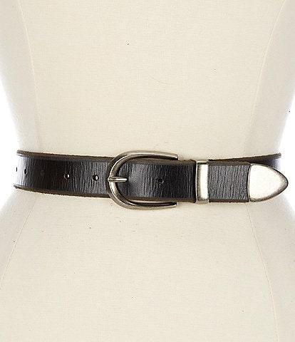 Frye 1.25#double; Metal Tip Leather Jean Belt