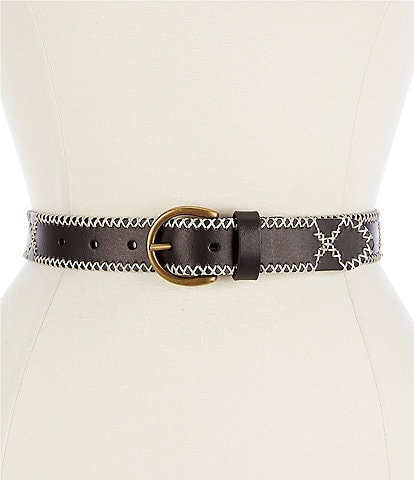 Frye 1.25#double; Embroidered Leather Jean Belt