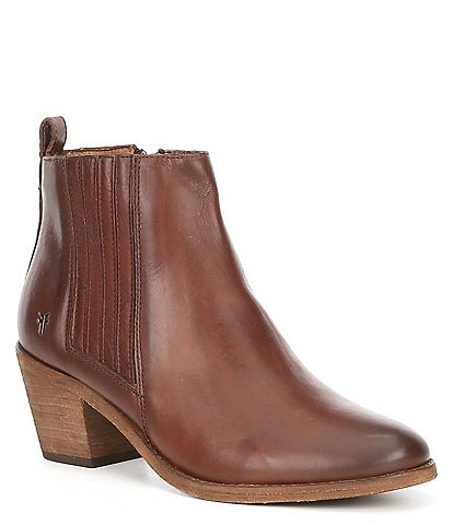 Frye Alton Chelsea Leather Block Heel Boots