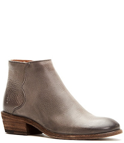 Frye Carson Leather Piping Block Heel Booties