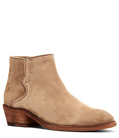 Frye Carson Piping Suede Block Heel Western Booties
