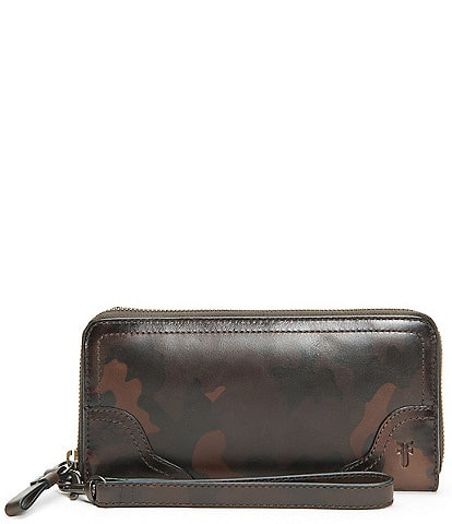 Frye Charlie Camo Leather Zip Wallet