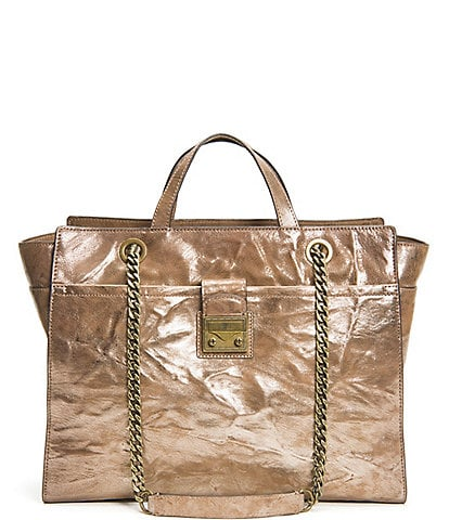 Frye Ella Metallic Leather Top Zip Tote Bag
