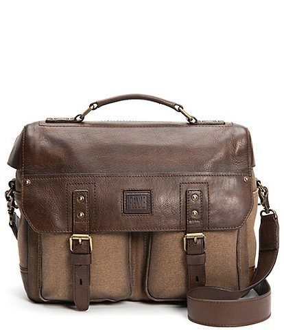 Frye Ethan Canvas Leather Trimmed Brief Case