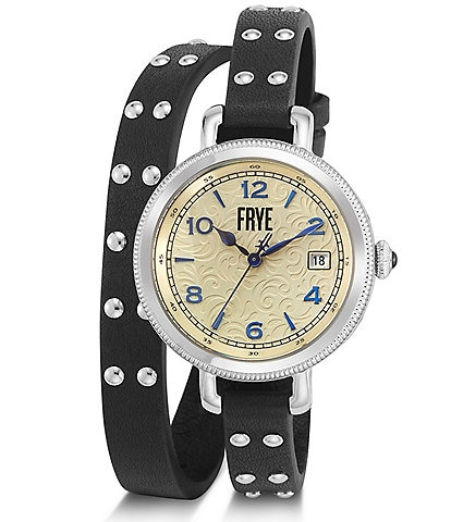 Frye Ladies Melissa Studded Black Leather Double Wrap Watch