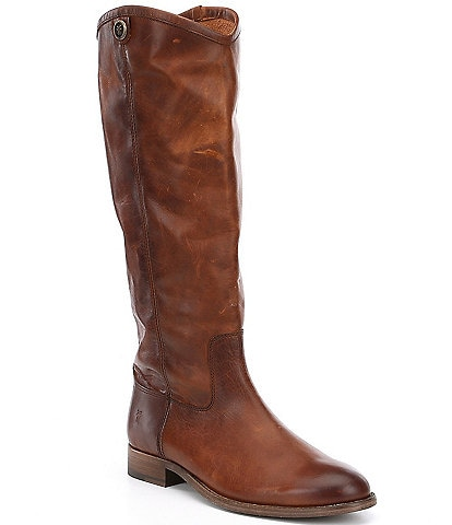 Frye Melissa Button 2 Tall Wide Calf Leather Block Heel Riding Boots