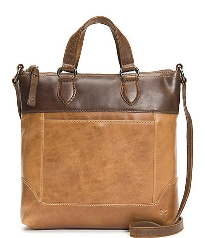 Frye Melissa Colorblock Small Tote Distressed Leather Crossbody Bag