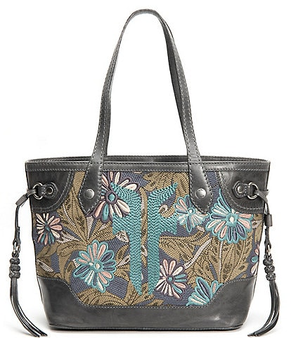 Frye Melissa Floral Embroidery Carryall Tote Bag