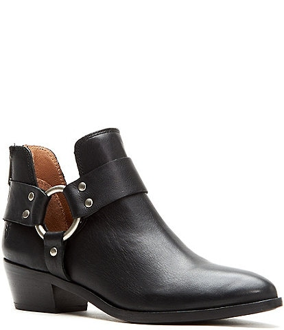 Frye Ray Harness Leather Back Zip Block Heel Booties