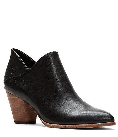 Frye Reed Leather Block Heel Western Booties