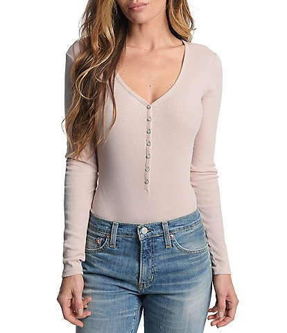 Frye Ribbed Knit Henley Bodysuit