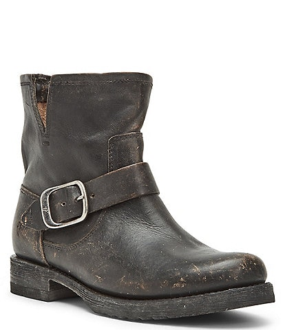 Frye Veronica Leather Buckle Detail Block Heel Booties