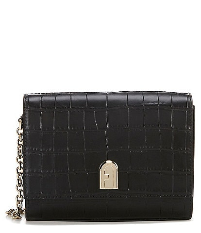 Furla 1927 Mini Leather Crocodile-Embossed Crossbody Bag