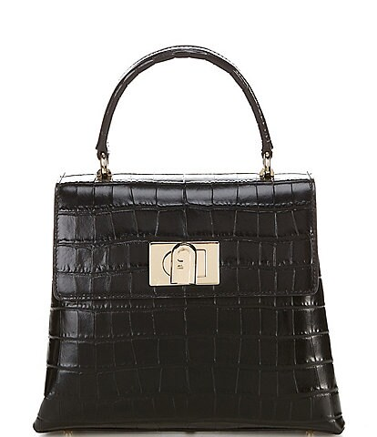 Furla 1927 Small Crocodile Top Handle Satchel Bag
