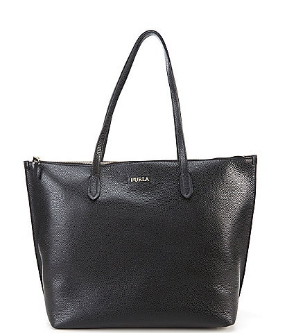 Furla Luce Zip Top Large Leather Tote Bag