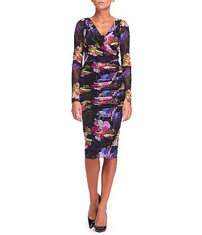 FUZZI Patchwork Flower Print Tulle Mesh Faux Wrap V-Neck Long Sleeve Ruched Bodycon Dress