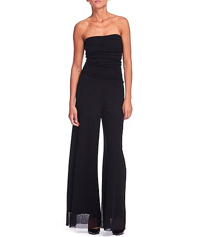 FUZZI Tulle Mesh Convertible Lined Flare-Leg Strapless Jumpsuit