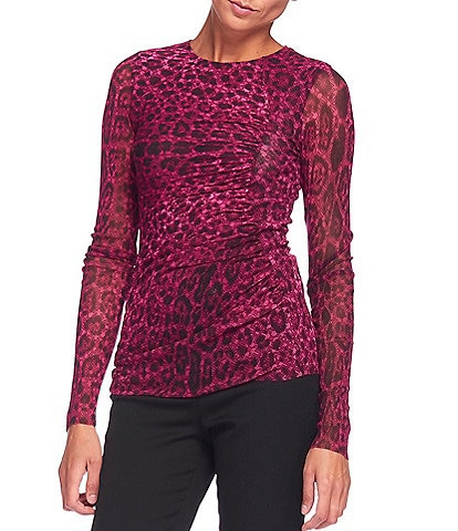 FUZZI Tulle Mesh Iconic Leopard Print Crew Neck Ruched Long Sleeve Top