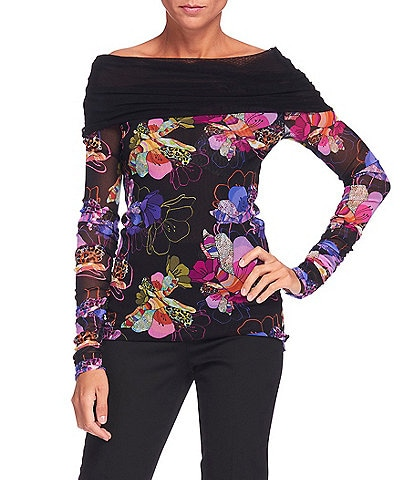 FUZZI Tulle Mesh Patchwork Flower Print Off-the-Shoulder Long Sleeve Top