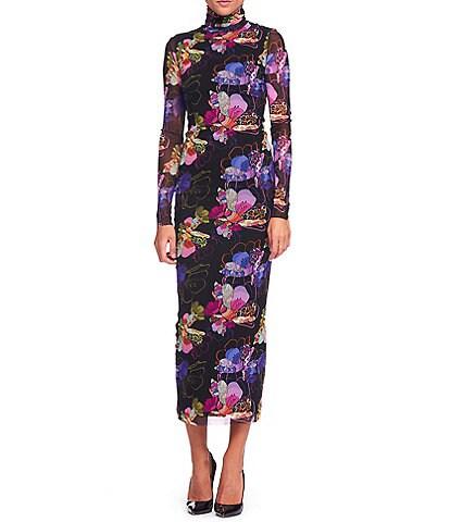 FUZZI Tulle Mesh Patchwork Flower Print Turtleneck Long Sleeve Midi Dress