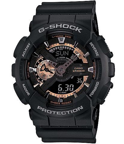 G-Shock XL Ana-Digi Rose Gold Series Black Resin Strap Watch