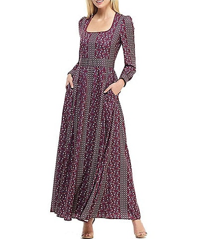 Gal Meets Glam Collection Freya Square Neck Printed Maxi Dress