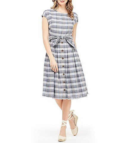 Gal Meets Glam Collection Kaitlin Plaid Tie Waist A-Line Midi Dress