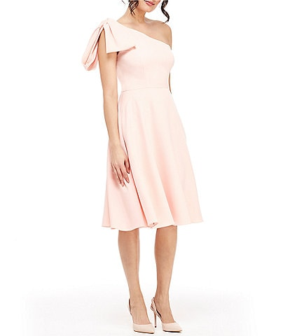 Gal Meets Glam Collection Yvonne Bow One Shoulder A-Line Midi Dress