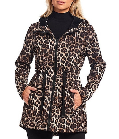 Gallery Leopard Print Hooded Anorak Raincoat