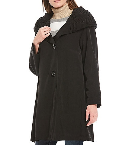 Gallery Petite Size Pleat Hooded Walker Raincoat
