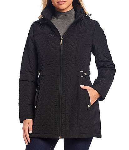 Gallery Petite Size Side Tab Quilted Coat with Faux Fur Lined Hood
