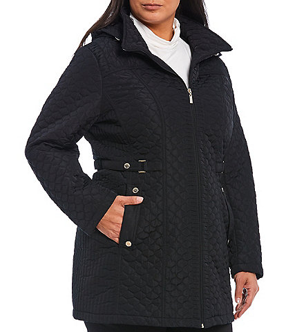 Gallery Plus Size Side Tab Hooded Quilt Coat