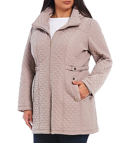 Gallery Plus Size Side Tab Hooded Wool Blend Quilted Coat