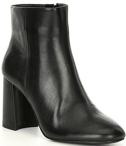 GB A-Dore Leather Side Zip Block Heel Dress Booties