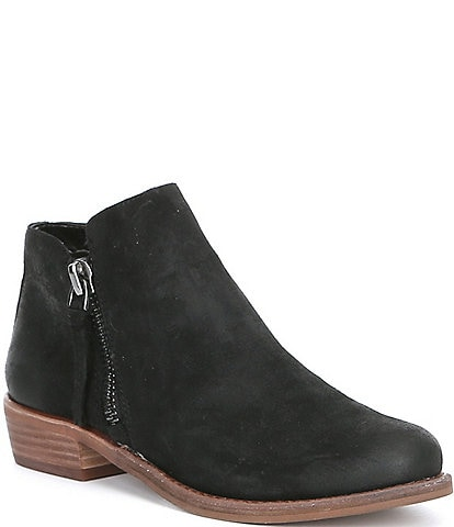 GB A-Lister Double Zip Closure Leather Block Heel Booties
