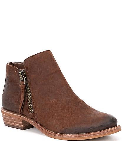 GB A-Lister Double Zip Closure Leather Block Heel Booties