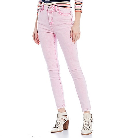 GB Acid Wash Neon Skinny Jeans