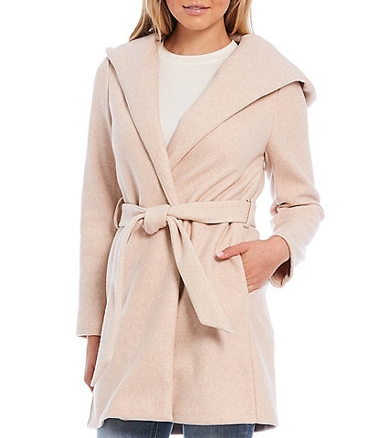 GB Belted Long Sleeve Hooded Robe Coat