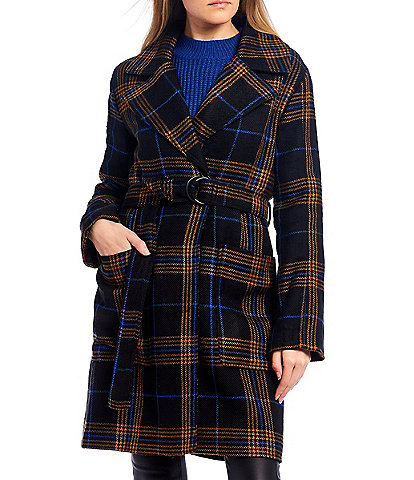 GB Belted Plaid Coat