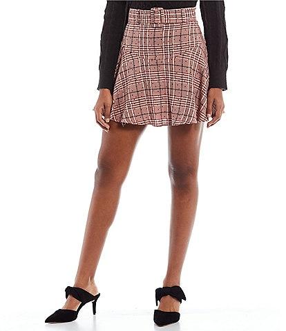 GB Belted Plaid Skater Skirt