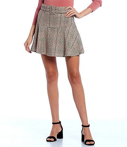 GB Belted Plaid Swing Skirt