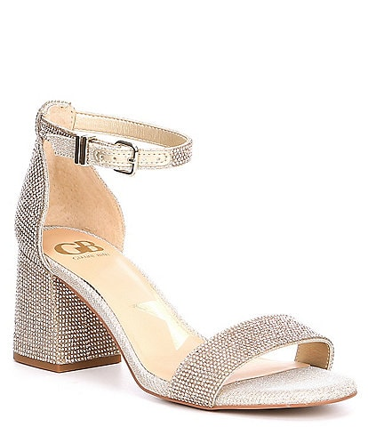 GB Bling-Out Rhinestone Block Heel Sandals