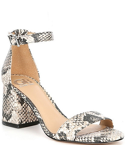 GB Block-Party Snake Print Leather Two-Piece Sandals