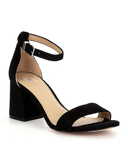 GB Block-Party Suede Banded Ankle Strap Block Heel Dress Sandals