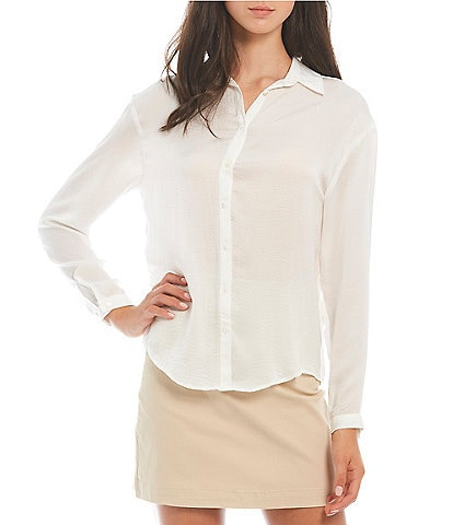 GB Button-Front Long Sleeve Top