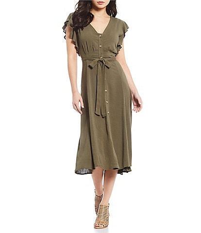 GB Cap Flutter Button Front Tie Waist Midi Dress