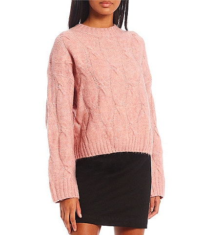 GB Cable Knit Crew Neck Long Sleeve Sweater