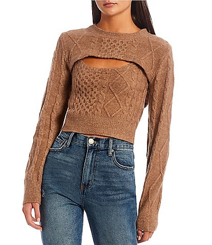 GB Cable Knit Sweater Twin Twofer Set