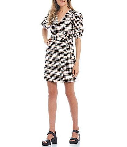 GB Checked Print Puff Sleeve Wrap Dress