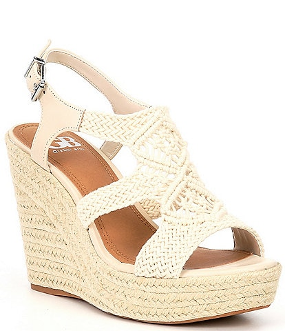 GB Close-Up Woven Macrame Espadrille Wedges